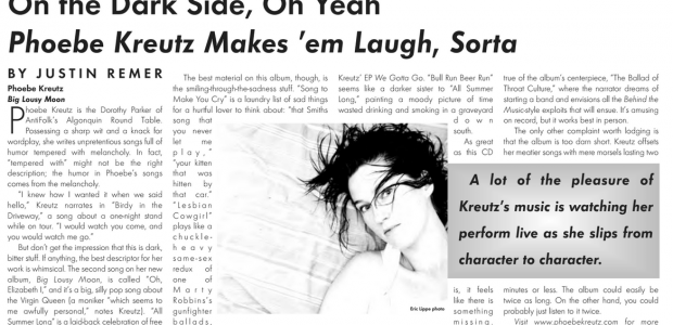 """Boog City 42, June 2007 available today featuring: ***Our Music section, edited by Jonathan Berger*** –"""" A lot of the pleasure of Kreutz's music is watching her perform live as […]"""