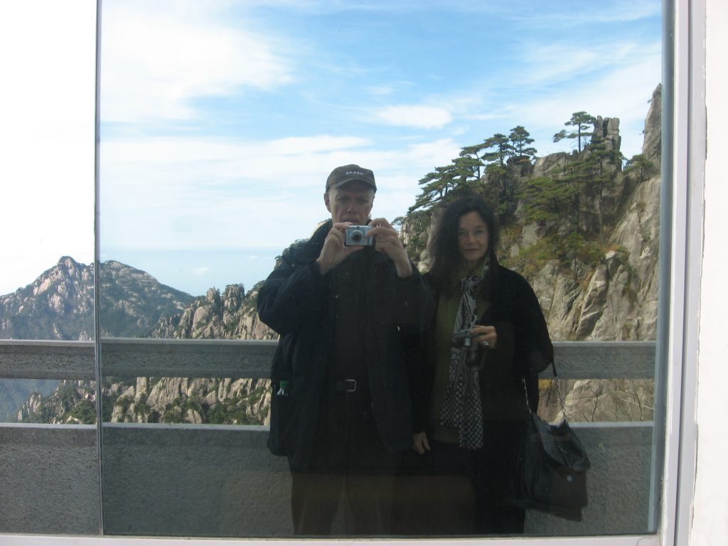 1) Anne Waldman and Ron Padgett at Huang Shan (Yellow Mountain), China, October 24, 2008. This photo was taken in an astounding location when Anne and Ron were taking part in a conference of poets from China, the U.S., Canada, Slovenia, and Spain, funded by the Pamirs Academy and organized by the Chinese poets Xi Chuan and Wang Jiaxin.