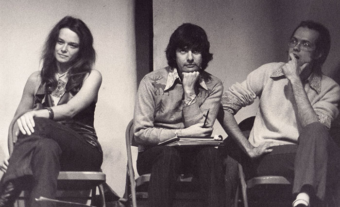 Anne Waldman, Larry Fagin, and Ron Padgett, probably when the three were making a poets-in-the-schools presentation in Wilmington, Del., circa 1974. Possibly Ron Shapiro photo.