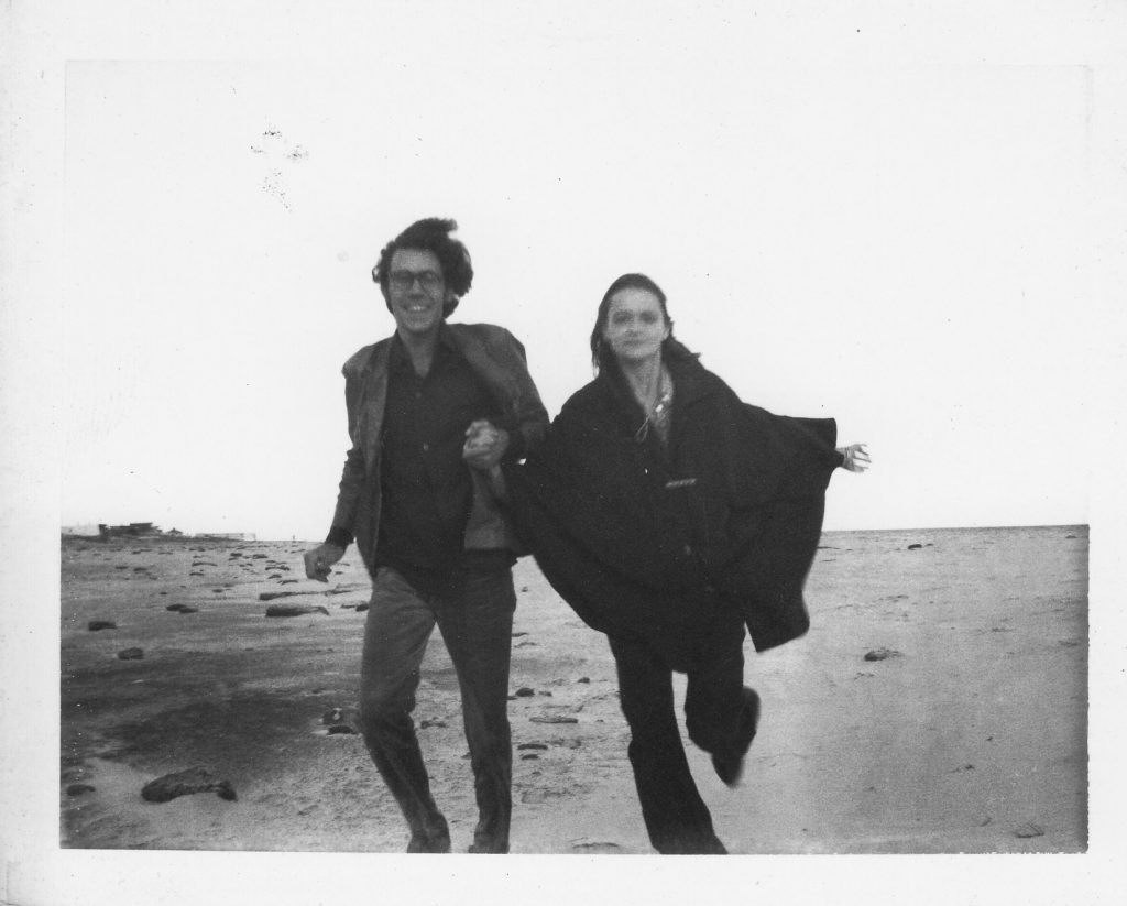 Joe Brainard and Anne Waldman running along Westhampton Beach, N.Y., where Kenward Elmslie had a house. Circa 1972.