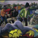"Fishermen, 28"" x 36"" oil on canvas"