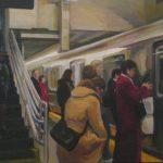 "Subway, 9"" x 12"" acrylic on canvas"