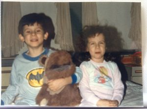 0158: Angela and Toby pose with Ewok in Stamford, Conn., year unknown.